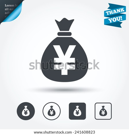 Money bag sign icon. Yen JPY currency symbol. Circle and square buttons. Flat design set. Thank you ribbon. Vector - stock vector