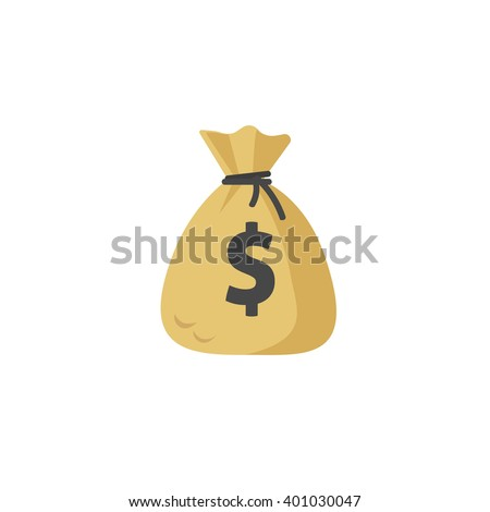 Money bag vector icon, moneybag flat simple cartoon illustration with black drawstring and dollar sign isolated on white background - stock vector