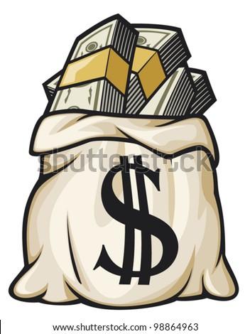 Money bag with dollar sign vector illustration (money bag filled dollars) - stock vector