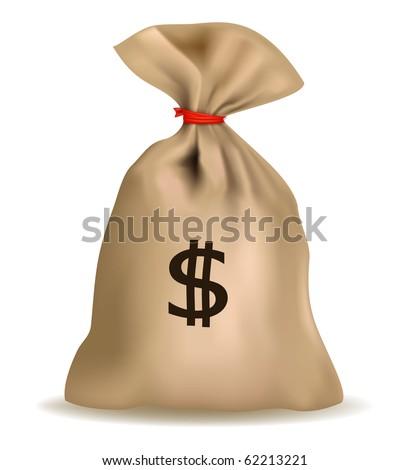 Money bag with dollars. Vector. - stock vector