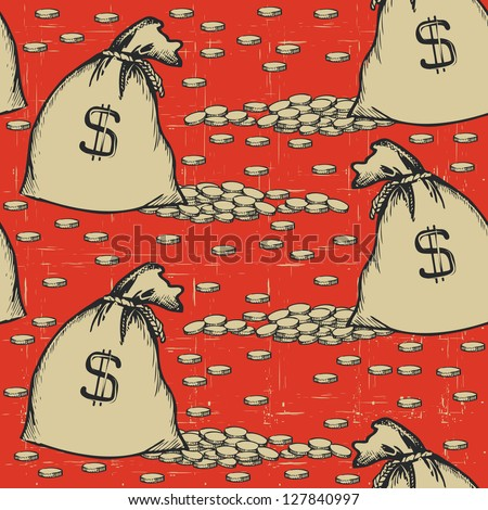 money bags seamless pattern.Vintage background with gold coins - stock vector