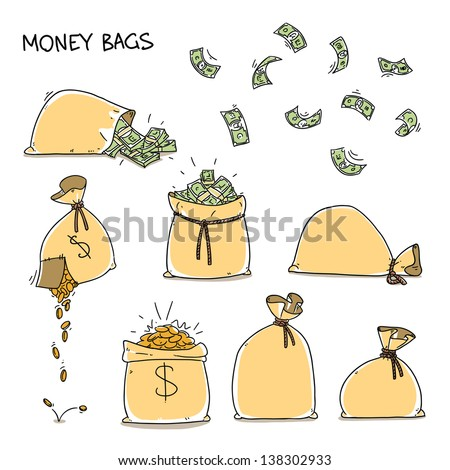 Money bags set. falling money and falling coins. Cartoon illustration isolated on white background - stock vector