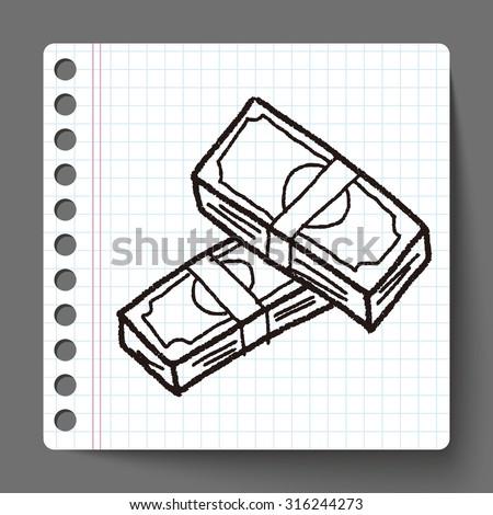 money bill doodle drawing - stock vector