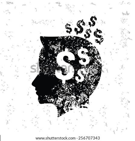 Money brain design on old paper,grunge vector - stock vector