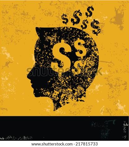 Money brain symbol on grunge yellow background,grunge vector - stock vector