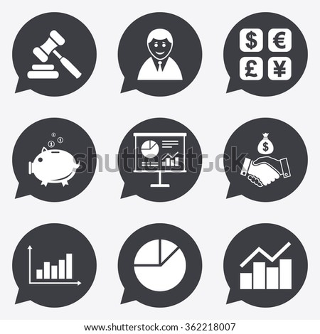Money, cash and finance icons. Handshake, piggy bank and currency exchange signs. Chart, auction and businessman symbols. Flat icons in speech bubble pointers. - stock vector