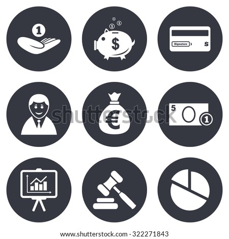 Money, cash and finance icons. Piggy bank, credit card and auction signs. Presentation, pie chart and businessman symbols. Gray flat circle buttons. Vector - stock vector