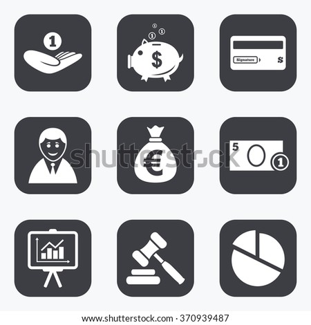 Money, cash and finance icons. Piggy bank, credit card and auction signs. Presentation, pie chart and businessman symbols. Flat square buttons with rounded corners. - stock vector