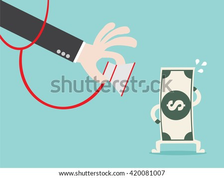 Money check up. Financial health check. Close up businessman hand use stethoscope to check bank note money health. Flat design business financial marketing banking concept cartoon illustration. - stock vector