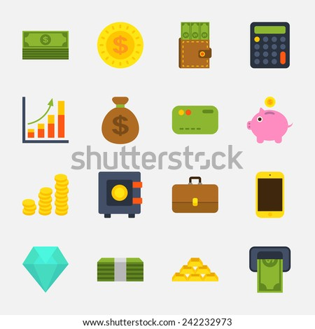money color icons on white background - stock vector