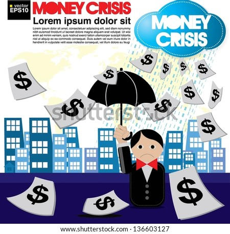 Money crisis conceptual illustration vector.EPS10 - stock vector