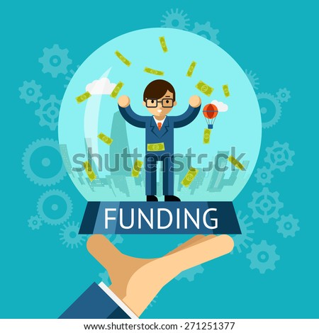Money crystal ball. Funding concept. Businessman standing among falling money - stock vector