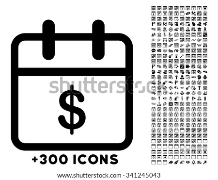 Money Day vector icon with additional 300 date and time management pictograms. Style is flat symbols, black color, rounded angles, white background. - stock vector