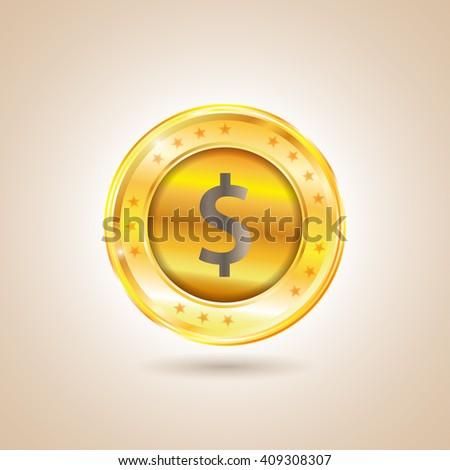 Money - Dollar Coin. Vector illustration - stock vector