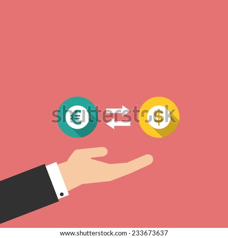 money exchange with hand in flat design - stock vector
