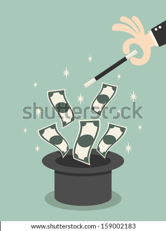 Money flying out of the magic hat - stock vector