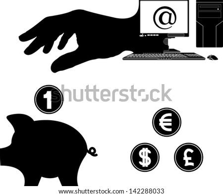 money from internet. vector illustration - stock vector