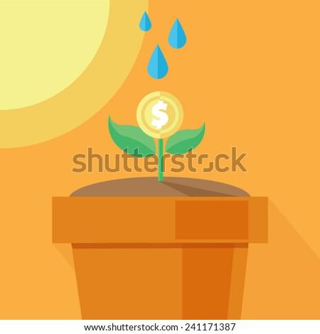 money growth - stock vector