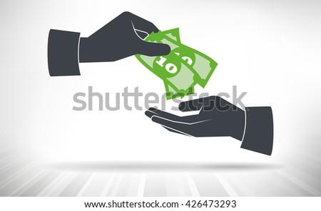 Money handover. One hand giving money bills to another hand - stock vector