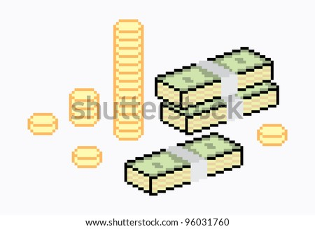 money icon in pixel art - stock vector