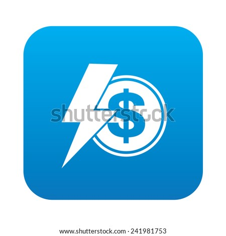 Money icon on blue button background,clean vector - stock vector