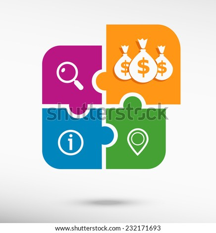 Money icon with three bags on colorful jigsaw puzzle  - stock vector