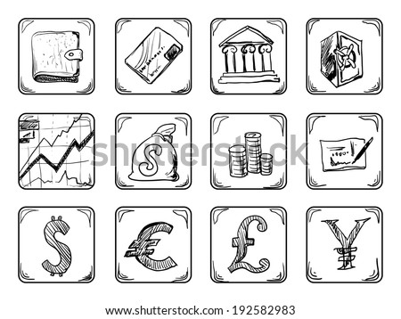Money icons - stock vector
