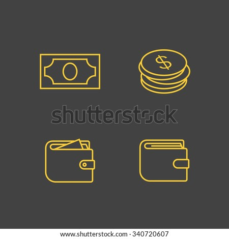 Money icons. Outline vector icons. Linear style - stock vector