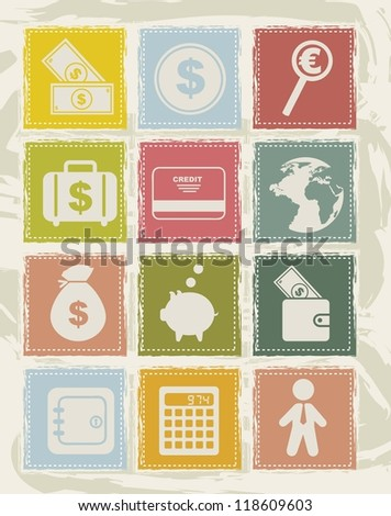 money icons over grunge background. vector illustration - stock vector