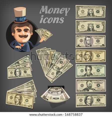 Money icons. Vector format - stock vector