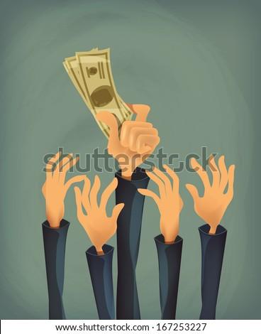 Money in hand. Vector format - stock vector