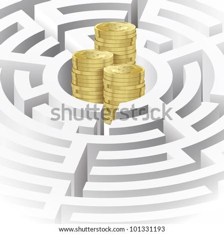 Money in the maze. Illustration for Design - stock vector