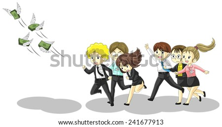 Money is flying away from business and office people. It is because of inflation, economic recession, or business loss? - stock vector