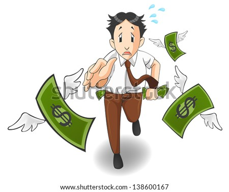 Money is flying away from the pocket. It is because of inflation, economic recession, or business loss?  - stock vector