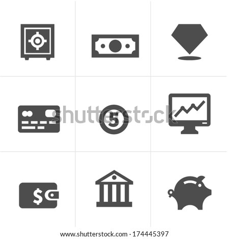 money, keeping money, payment. Icon set - stock vector