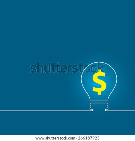 Money making idea. Light bulb with Dollar symbol. background lamp. Vector illustration. - stock vector