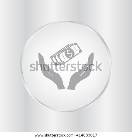 Money on a hand icon, Vector illustration. - stock vector