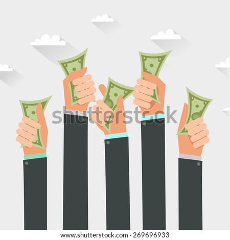 Money on hands. Businessmen giving a cache. Vector illustration in flat style isolated on white - stock vector