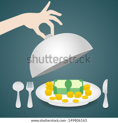 money on the plate, serving money, business concept, vector eps 10 illustration - stock vector