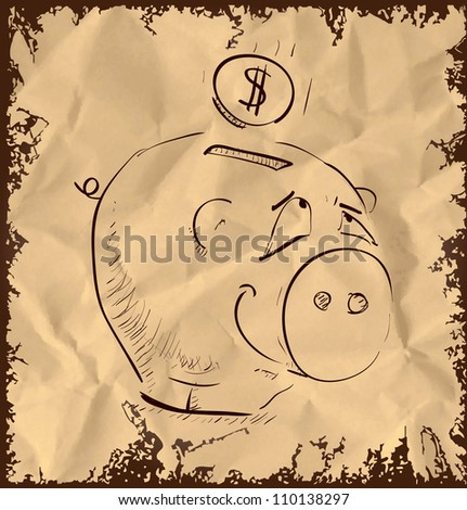 Money pig cartoon icon isolated on vintage background. Hand drawing sketch vector illustration - stock vector