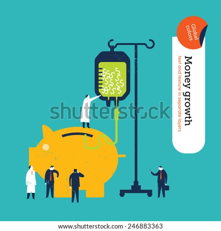 Money pig getting a money transfusion. Vector illustration Eps10 file. Global colors. Text and Texture in separate layers. - stock vector