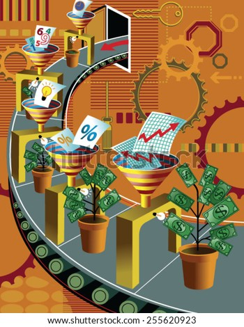 Money plants and graphs on conveyor belt - stock vector
