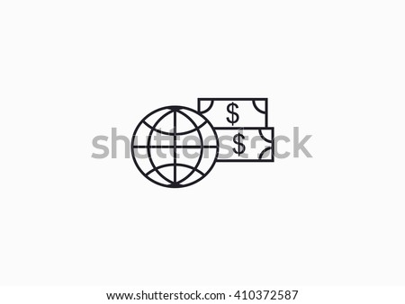 Money revolves around the world - stock vector