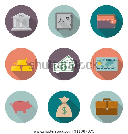 money savings, banking services. set modern icons in a flat style isolated on white background. Collection of  financial items.  Vector illustration - stock vector