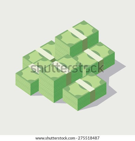 Money stacked, piles of green banknotes - stock vector