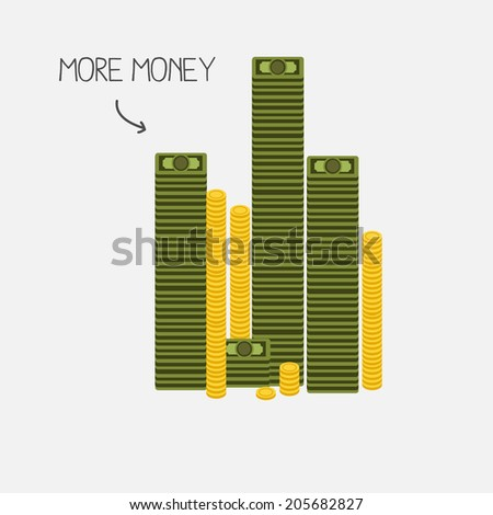 money tower. banknotes and coins concept - vector illustration - stock vector