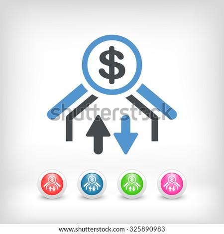 Money transfer icon - Dollars - stock vector