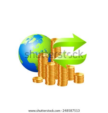 Money transfer icon. Vector - stock vector