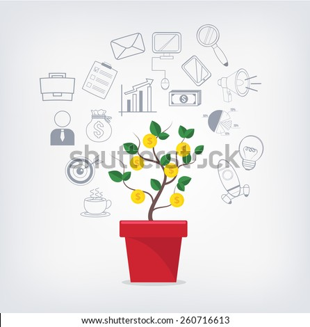 Money tree in red pot and business icons set. Creative vector illustration. Isolated on trendy gradient background. - stock vector