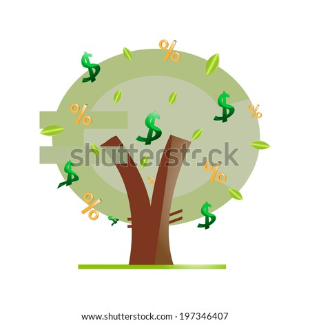 Money tree on a white background - stock vector